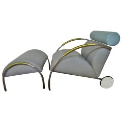 Fabulous Peter Maly Zyklus Chair and Ottoman Grey Leather