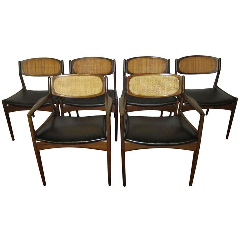 Set Of 6 Danish Modern Selig Walnut Caned Back Dining