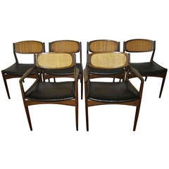 Set of 6 Danish Modern Selig Walnut Caned Back Dining Chairs