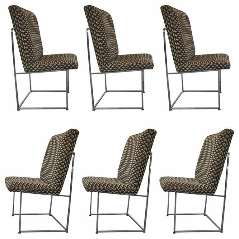 Set of Six Milo Baughman Dining Chairs, Midcentury