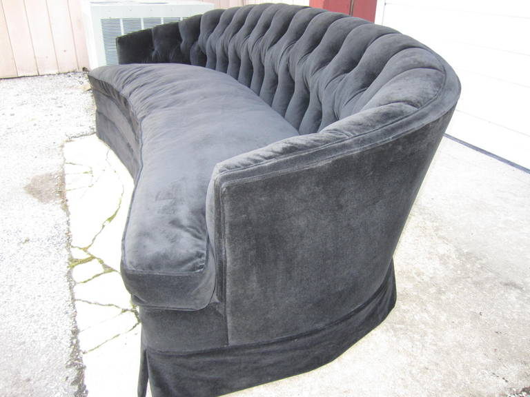 Spectacular Black Velvet Tufted Crescent-Shaped Curved Sofa, Hollywood  Regency
