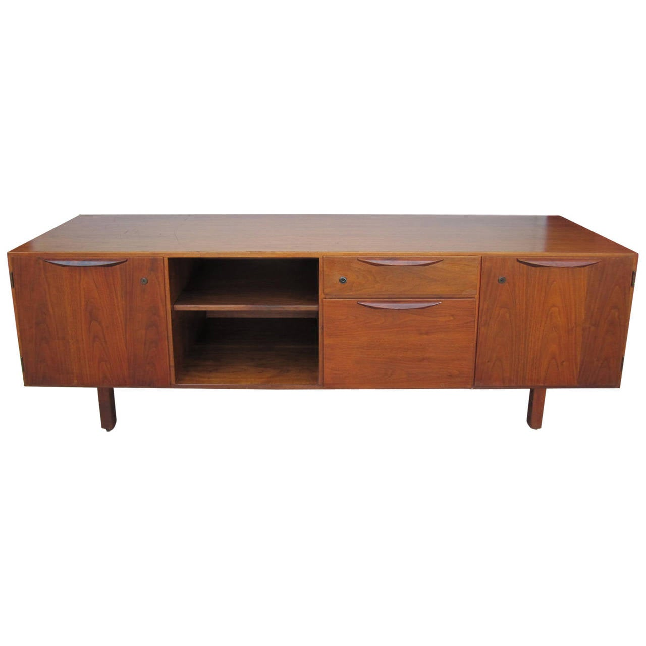 Jens Risom Walnut Credenza Cabinet Mid Century Modern For