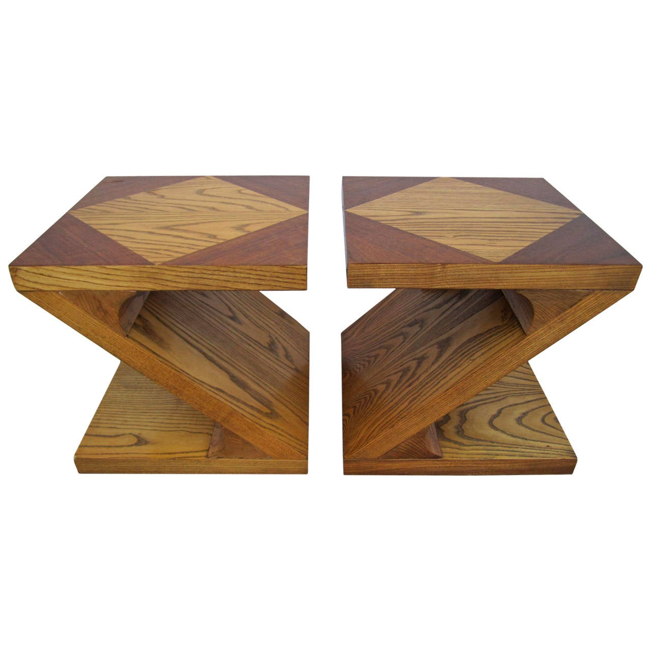 Pair of vintage danish rosewood and brushed steel side cabinets ref - Excellent Pair Of Lane Z End Side Tables Mid Century Modern