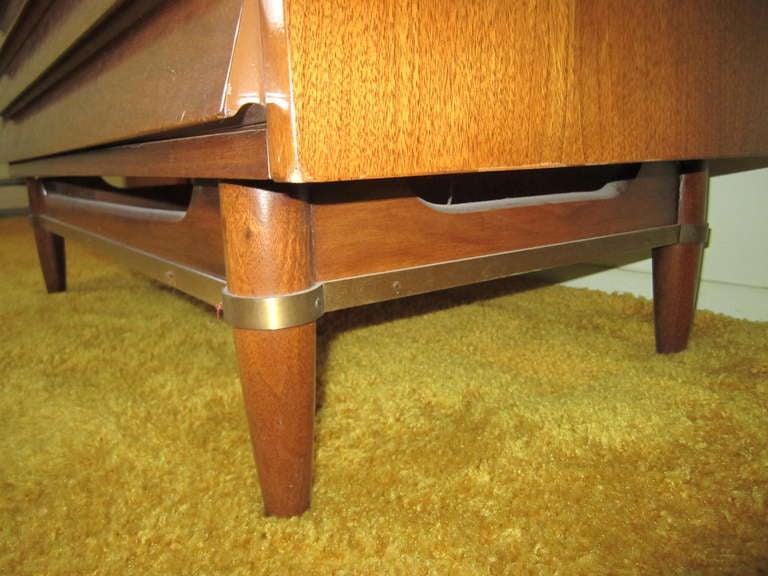 American Martinsville High Boy Walnut Dresser Chest Mid-century Modern For Sale 3