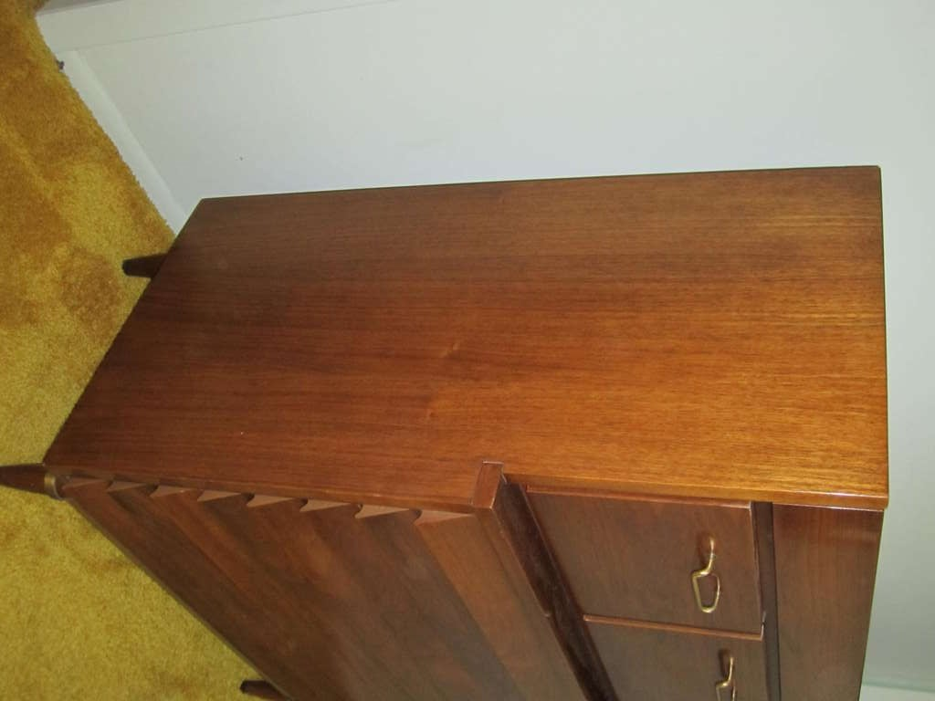 American Martinsville High Boy Walnut Dresser Chest Mid-century Modern For Sale 1
