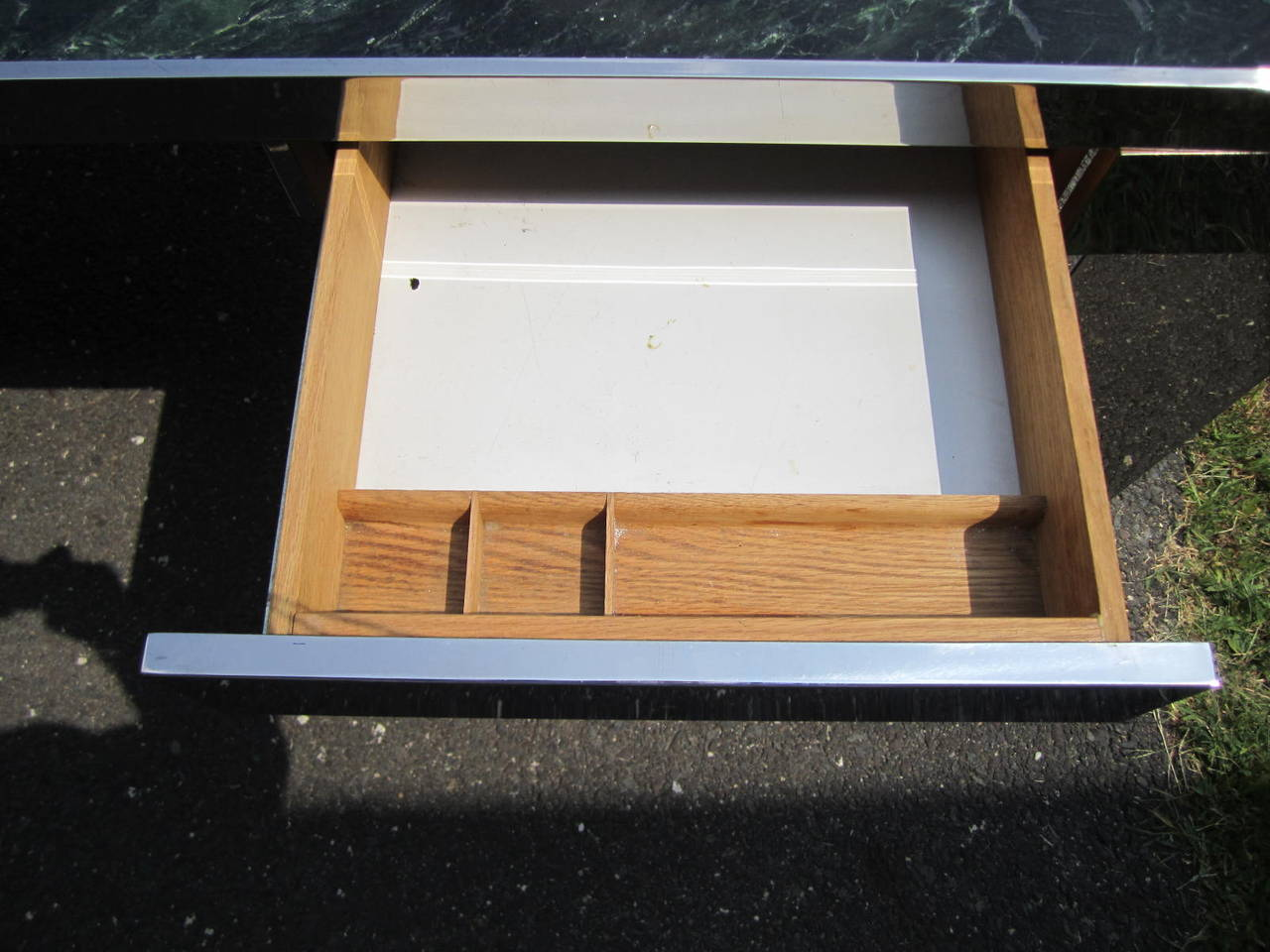 Sculptural 1970s Leon Rosen for Pace Collection Steel and Marble Desk For Sale 1