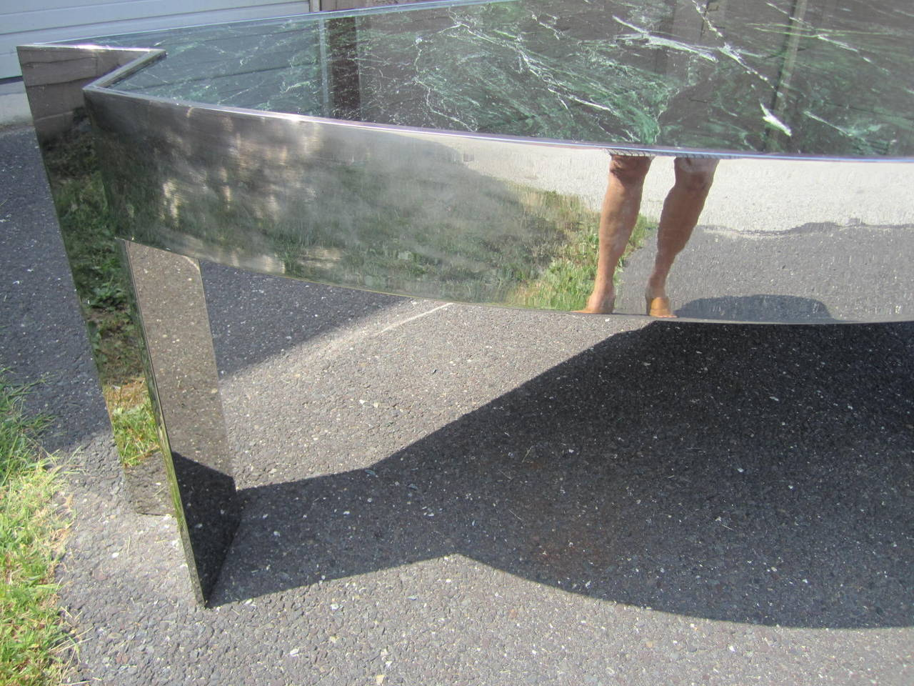 Sculptural 1970s Leon Rosen for Pace Collection Steel and Marble Desk For Sale 2