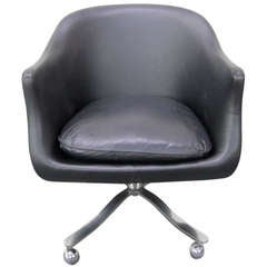 Nicos Zographos Black Leather Chrome Rolling Desk  Chair Mid century Modern