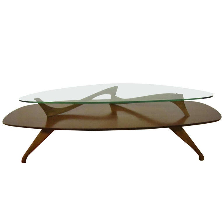 Fabulous Kagan Style Walnut Coffee Table Mid Century