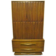 Fabulous Architectural 3 Dimensional Tall Dresser Mid-century Modern