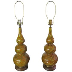 Pair Ceramic Bulbous Gourd Shaped Drip Glaze Lamps Mid-century Danish Modern