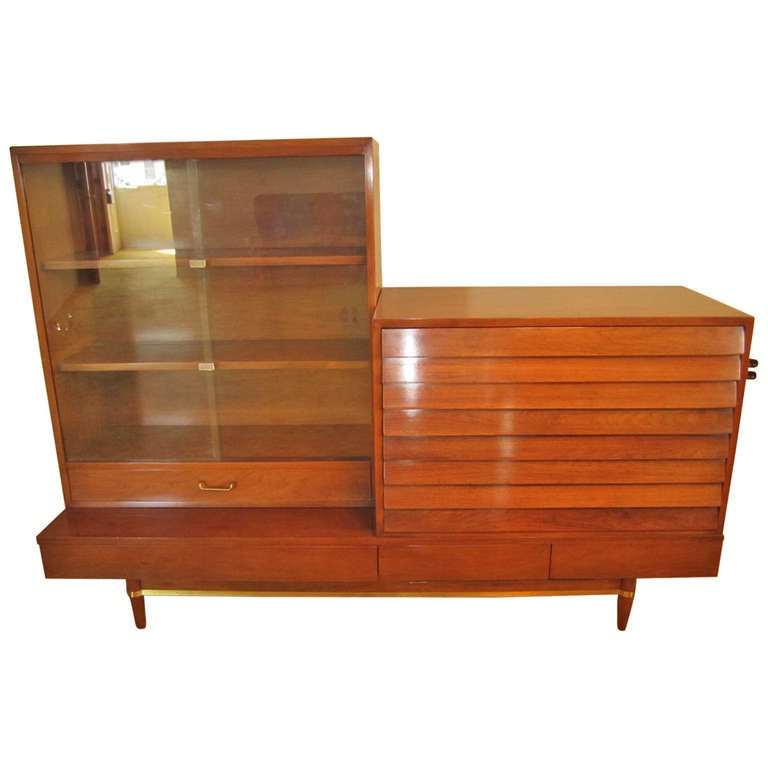 Lovely American of Martinsville Library Wall Unit Mid century Modern For Sale