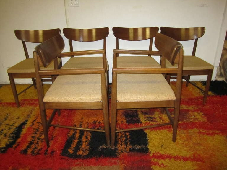 Excellent Set 6 American of Martinsville Walnut Dining Chairs Mid ...