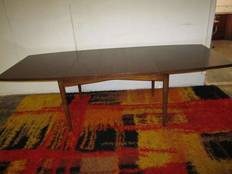 gorgeous american of martinsville walnut dining table mid-century
