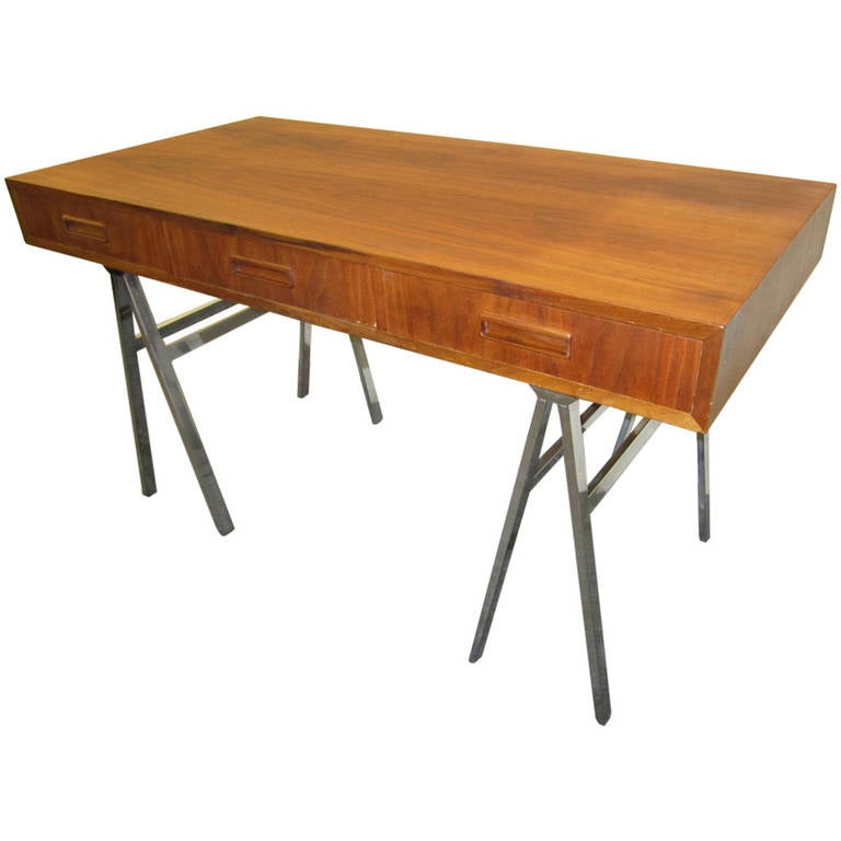 Mid Century Modern Milo Baughman Chrome Saw Horse Walnut Desk For