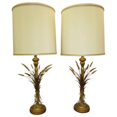 Lovely Pair Mid-century Modern of Frederick Cooper Sheaf of Wheat Table Lamp