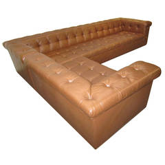 Monumental Edward Wormley Dunbar, L-Shaped Leather Chesterfield Sofas