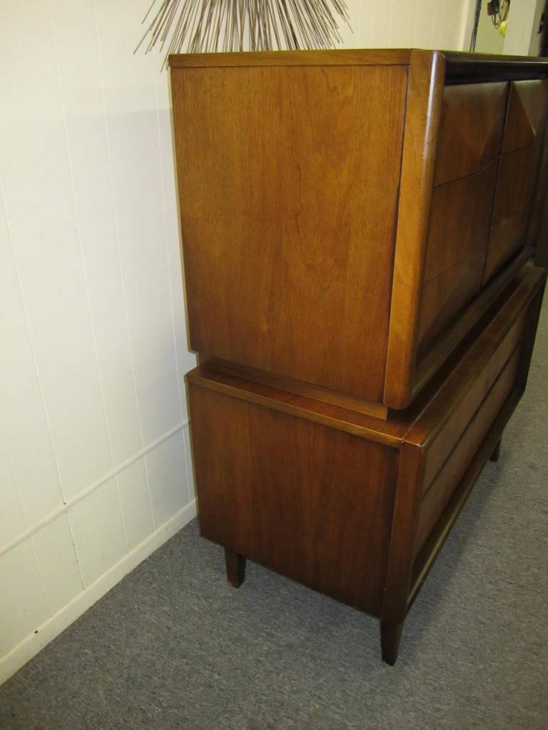 Handsome 3-Dimensional Diamond Front Walnut Tall Dresser Mid-century Modern 3
