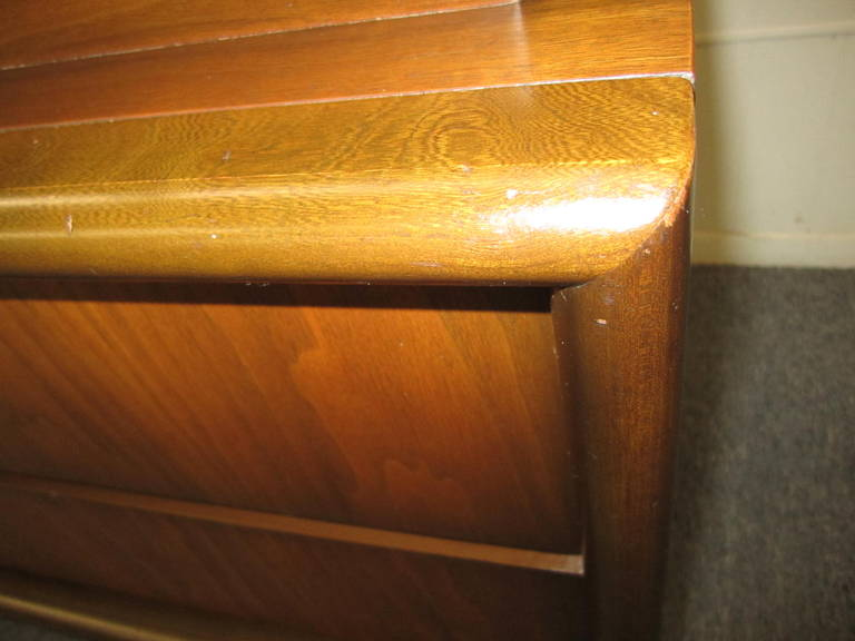 Handsome 3-Dimensional Diamond Front Walnut Tall Dresser Mid-century Modern 7