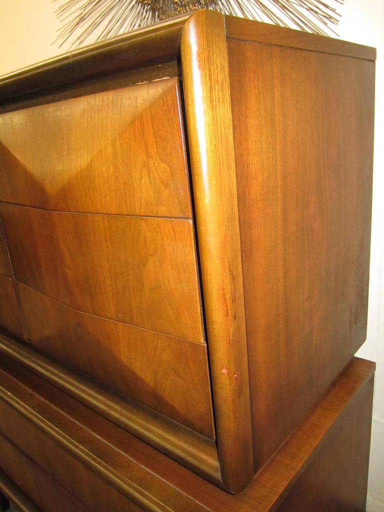 Handsome 3-Dimensional Diamond Front Walnut Tall Dresser Mid-century Modern 6