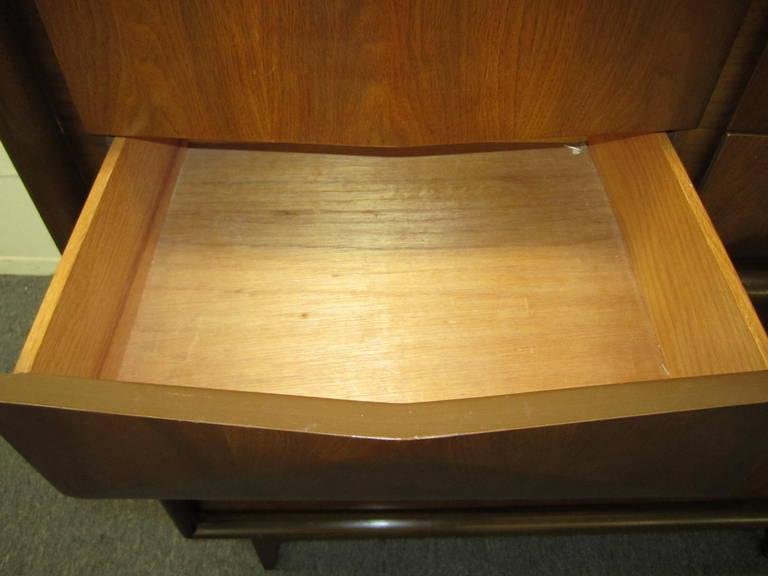 Handsome 3-Dimensional Diamond Front Walnut Tall Dresser Mid-century Modern 9