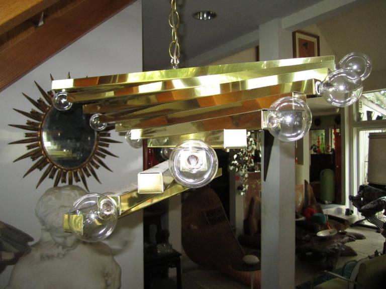 Sculptural Gaetano Sciolari Spiral Brass, Mid-Century Modern Chandelier For Sale 5