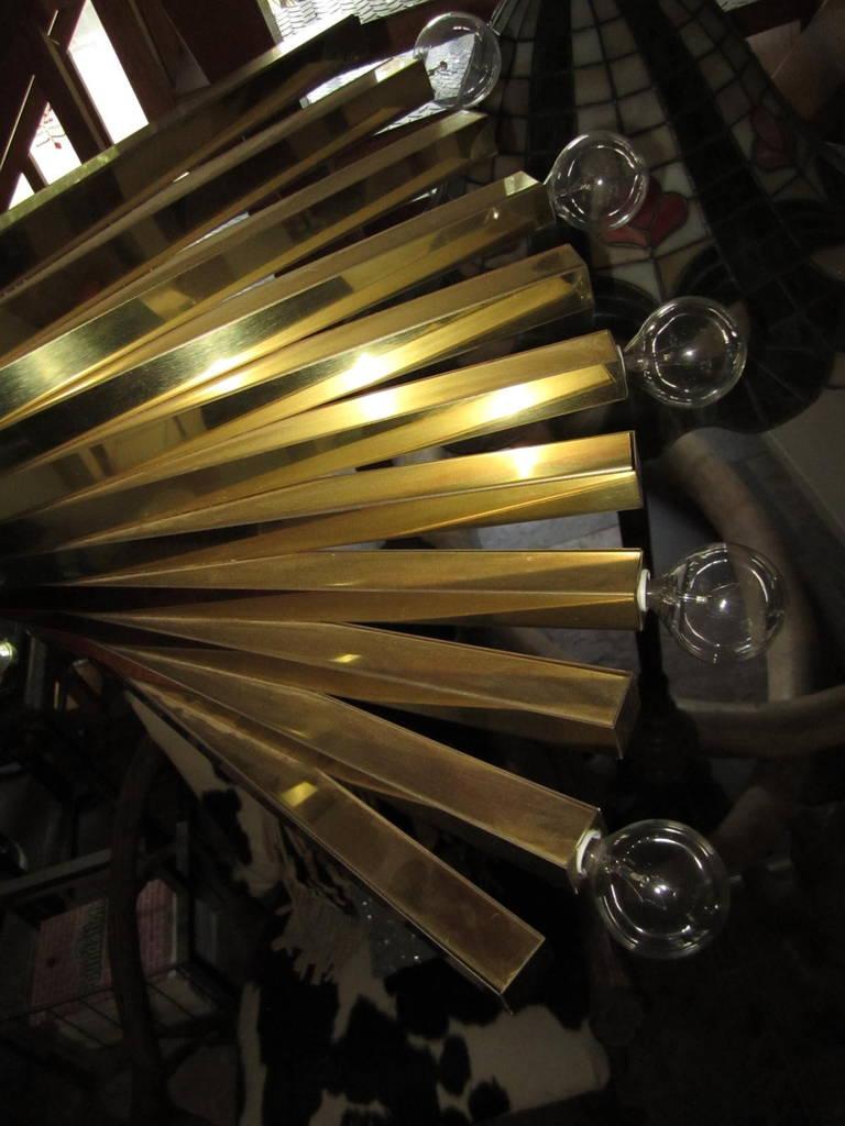 American Sculptural Gaetano Sciolari Spiral Brass, Mid-Century Modern Chandelier For Sale