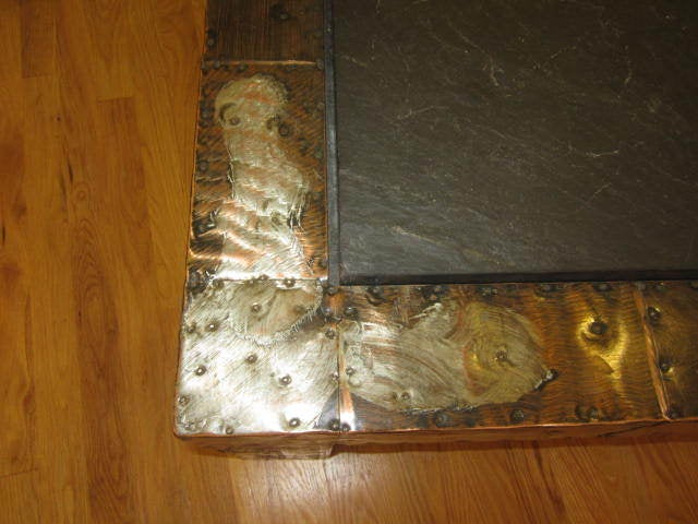 Mid-Century Modern Fabulous Paul Evans Brutalist Metal Patchwork Coffee Table Signed Slate Top For Sale