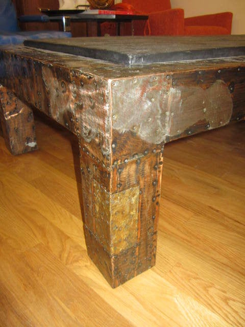 American Fabulous Paul Evans Brutalist Metal Patchwork Coffee Table Signed Slate Top For Sale
