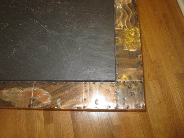 Late 20th Century Fabulous Paul Evans Brutalist Metal Patchwork Coffee Table Signed Slate Top For Sale