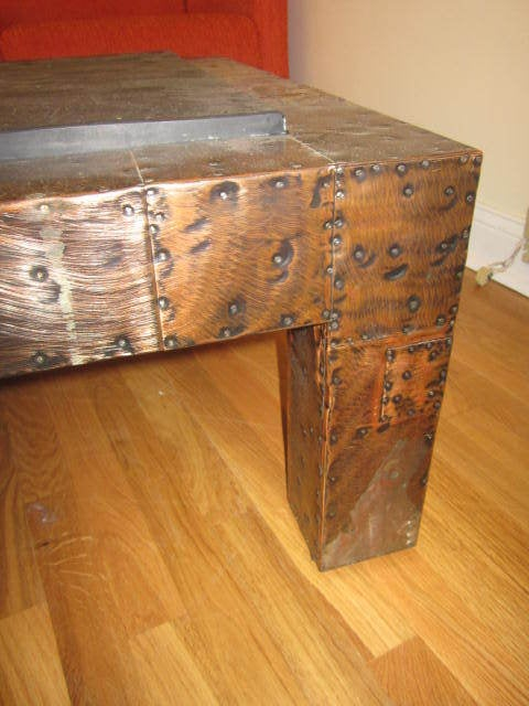 Copper Fabulous Paul Evans Brutalist Metal Patchwork Coffee Table Signed Slate Top For Sale