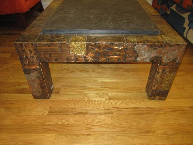 Fabulous Paul Evans Brutalist Metal Patchwork Coffee Table Signed Slate Top For Sale 2