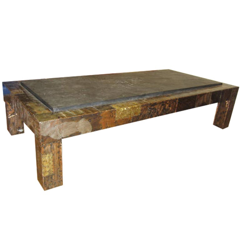 Fabulous Paul Evans Brutalist Metal Patchwork Coffee Table Signed Slate Top For Sale