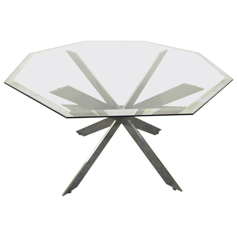 Outstanding Pace Collection Chrome Star Base, Mid-Century Modern Dining Table
