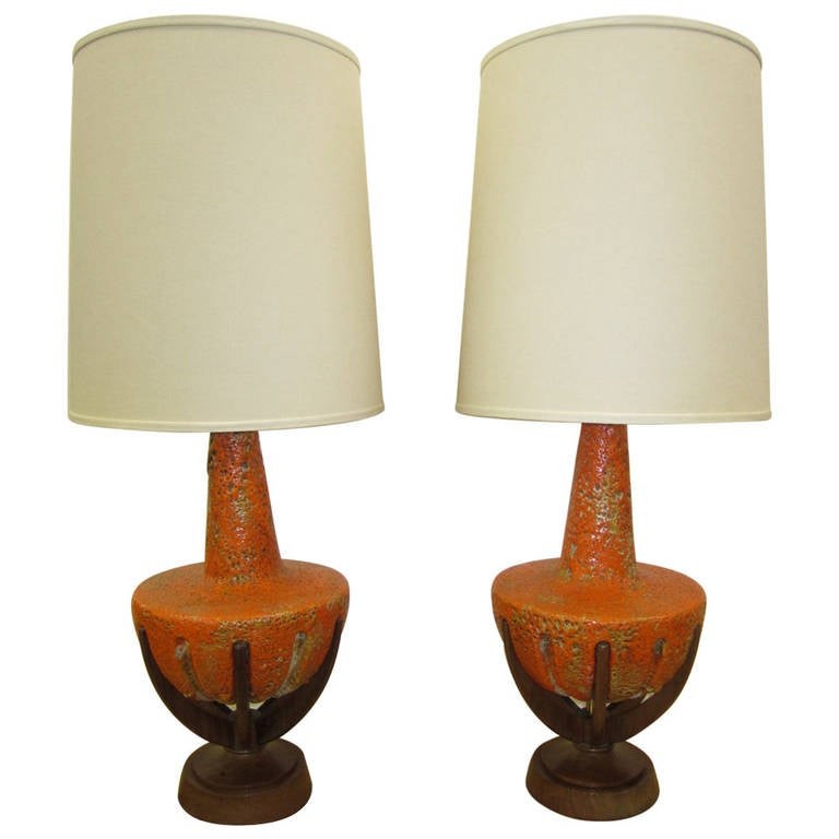 Amazing Pair of Thick Lava Glaze Orange Ceramic Lamps with Walnut Finger Bases
