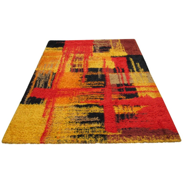 Wonderful Large Size Swedish Rya Rug, Mid Century Modern 1