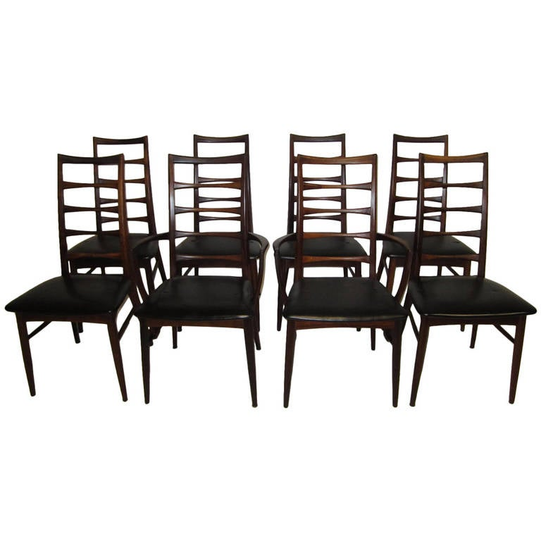 Set Of Eight Solid Rosewood Koefoeds Hornslet Dining Chairs Danish Modern Fo