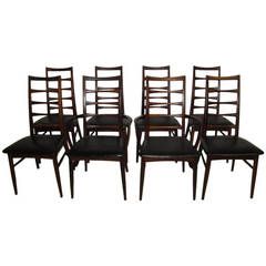 Set of Eight Solid Rosewood Koefoeds Hornslet Dining Chairs, Danish Modern