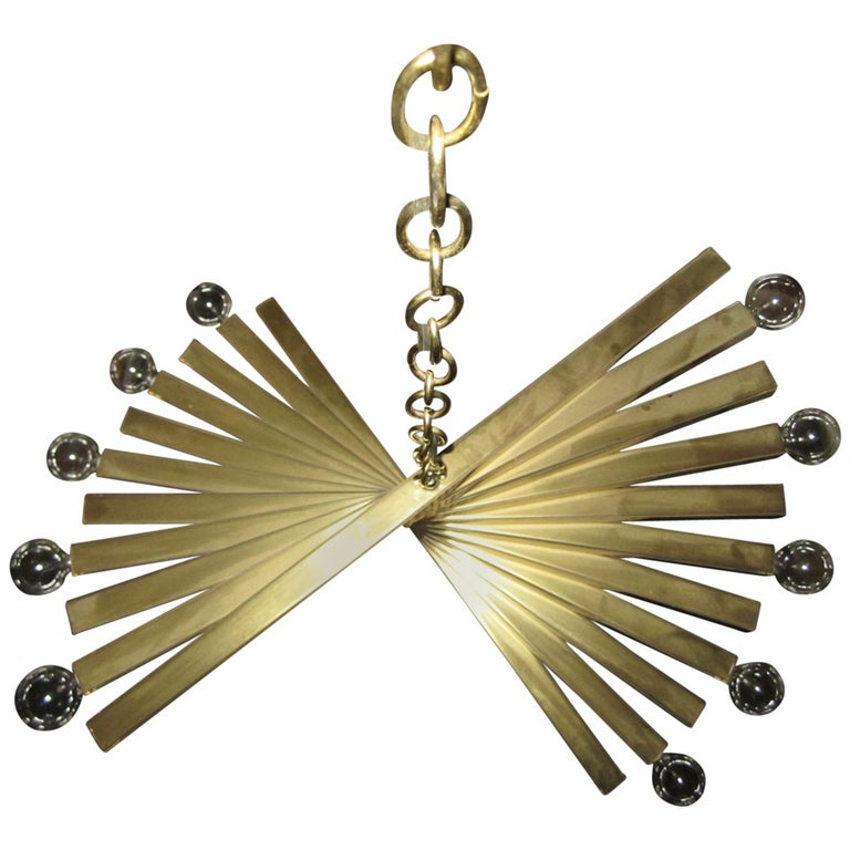 Sculptural Gaetano Sciolari Spiral Brass, Mid-Century Modern Chandelier For Sale