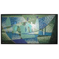 Excellent Mexican Mosaic Tile Framed Wall Art by Genaro Alvarez Blenko Bottles