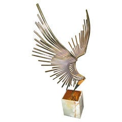 Mid-Century Modern, C Jere Flying Eagle Sculpture on Marble Base