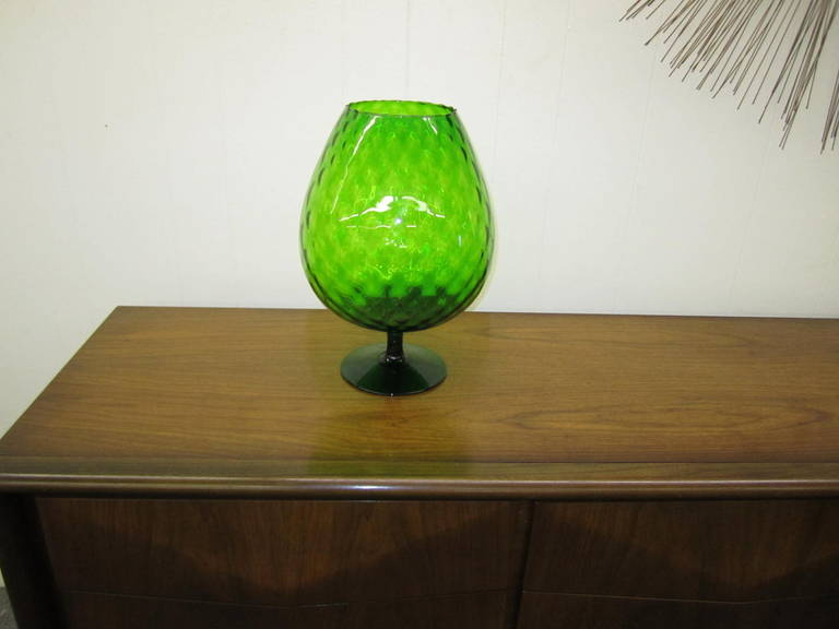 Large Scale Viking Art Green Glass Brandy Snifter At 1stdibs