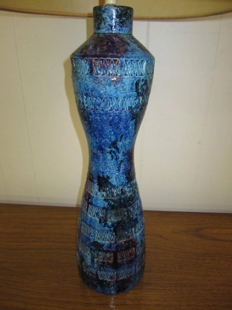 Italian Blu Rimini Pottery Table Lamp By Aldo Londi