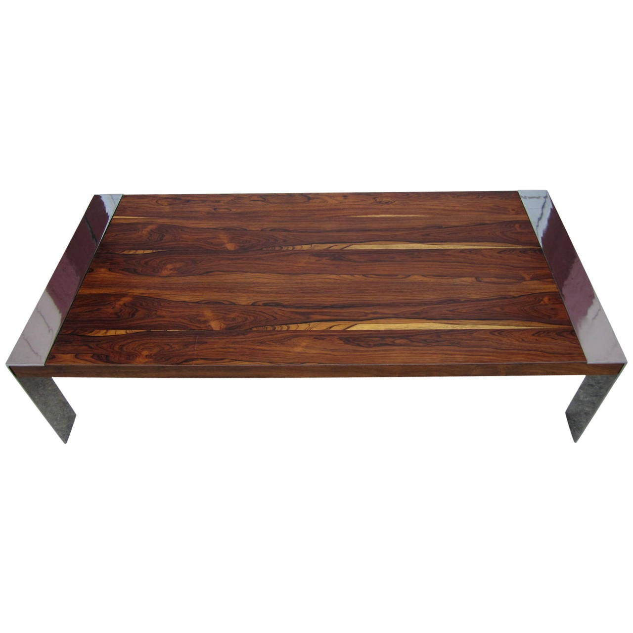 Fabulous Milo Baughman Chrome And Rosewood Coffee Table Mid Century Modern At 1stdibs
