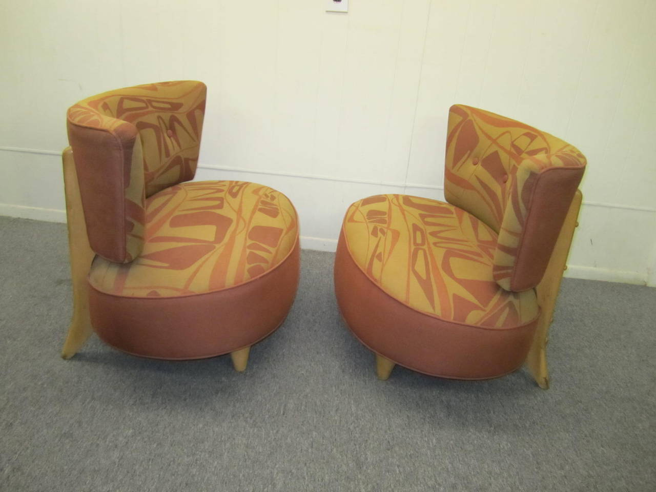 Really Fun Pair Of Gilbert Rohde Style 1940s Slipper Chairs. They Have A  Super Wide