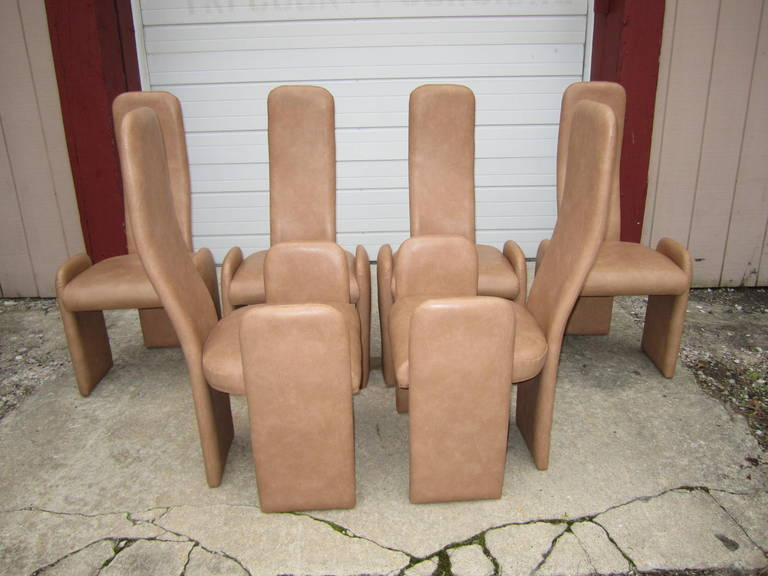 Six Unusual Saporiti Style High Back Dining Chairs Mid Century Modern At 1stdibs