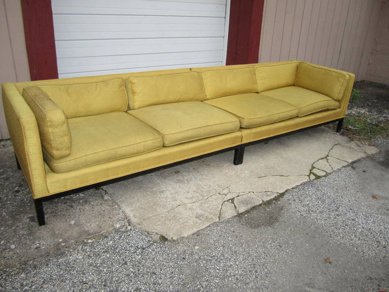 Fabulous 2-Piece Edward Wormley Dunbar Long Low Mid-Century Sofa For Sale 3