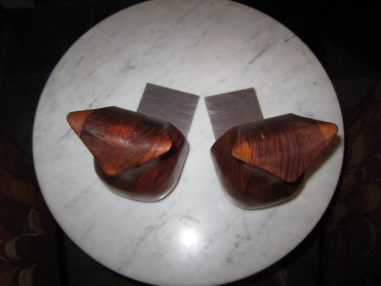 Whimsical Pair of Walnut Signed Deborah Bump Owl Bookends Mid-Century Modern For Sale 4
