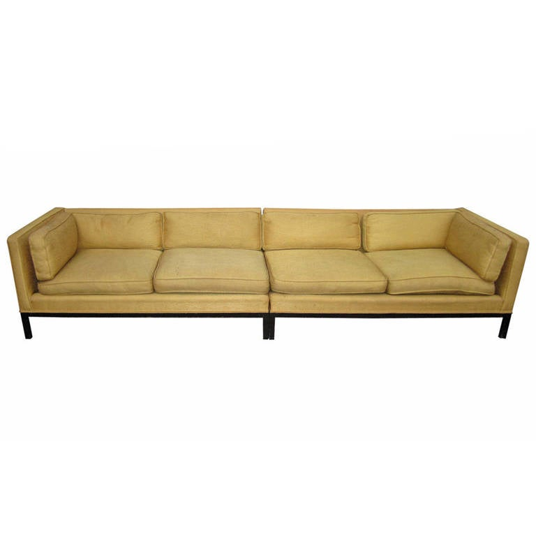 Fabulous 2-Piece Edward Wormley Dunbar Long Low Mid-Century Sofa For Sale