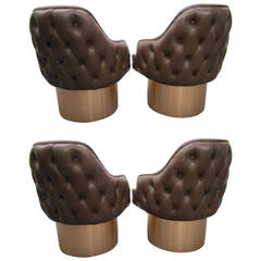 Excellent Set of Four Milo Baughman Style Tufted Back Leather Swivel Chairs